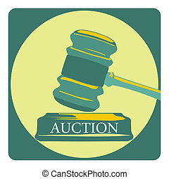 Business concept with auction sign - Presentation template -...