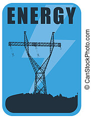 Energy and Power template, abstract illustration with pylon