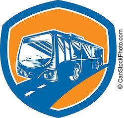 Tourist Coach Shuttle Bus Shield Woodcut