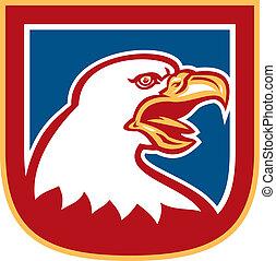 American Bald Eagle Head Shield Retro