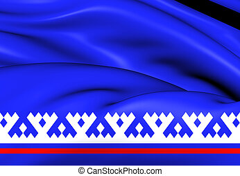 Flag of Yamalo-Nenets Autonomous Okrug, Russia. Close Up.