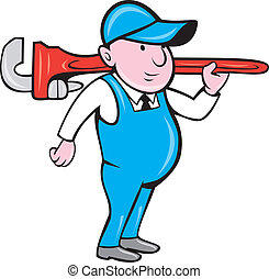 Plumber Holding Big Monkey Wrench Cartoon - Illustration of...