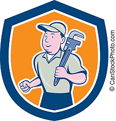Plumber Holding Monkey Wrench Shield Cartoon - Illustration...
