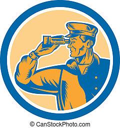 Fisherman Sea Captain Binoculars Circle Retro
