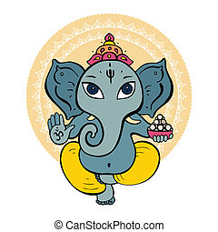 Hindu God Ganesha. Vector hand drawn illustration.