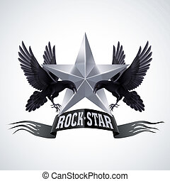 Rock star - Black-and-white Rock Star banner with two ravens