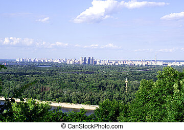 Kiev panorama surrounded by green trees