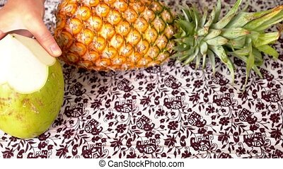 Thai Fresh Exotic Fruits on the Table Healthy Vitamin...