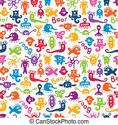 Vector seamless pattern with cute baby monsters