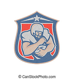 Metallic American Football Holding Ball Shield Retro -...