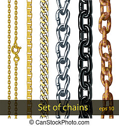 Set of chains. - Set of chains made ??of different metals...