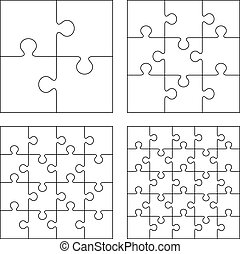 Puzzles - White puzzles 4, 9, 16 and 25 pieces