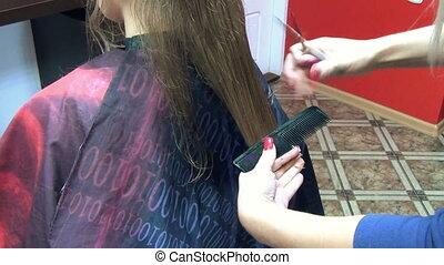 barber cut hair client - Closeup of hairdresser woman hands...