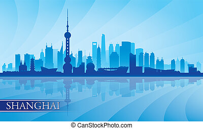 Shanghai city skyline silhouette background
