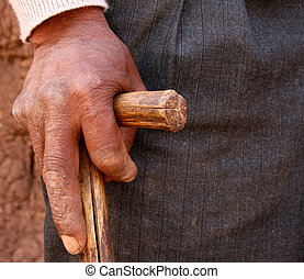 Farmer, Peru - hand of old man in south america
