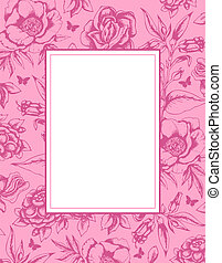 Vintage background with frame and flowers