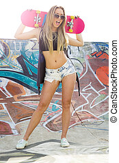 Skater Girl - Beautiful and sexy street girl with her...