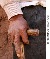 hand of old man in south america