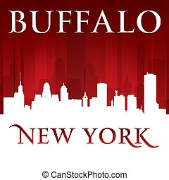 Buffalo New York city skyline silhouette red background -...