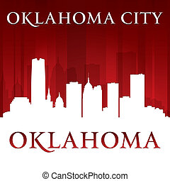 Oklahoma city silhouette red background