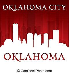 Oklahoma city silhouette red background - Oklahoma city...