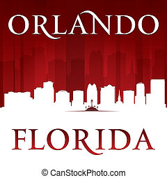 Orlando Florida city silhouette red background