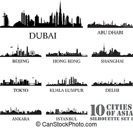 Set of skyline cities silhouettes. 10 cities of Asia #1....