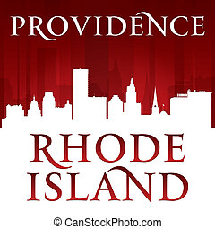 Providence Rhode Island city silhouette red background -...