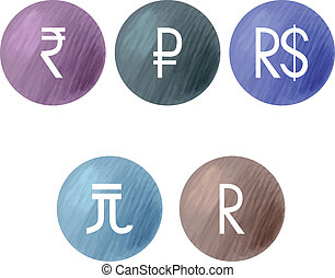 Currencies symbols BRIC Vector illustratin EPS 10
