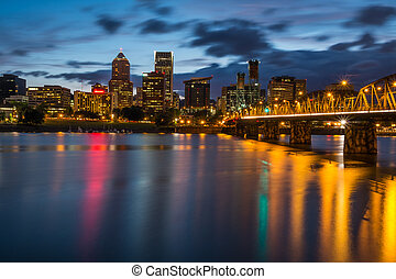 Portland Skyline Along Waterfront - Colorful lights...
