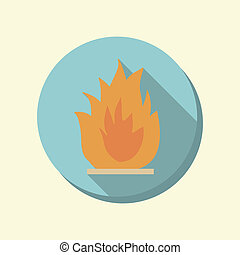 flat web icon. fire sign