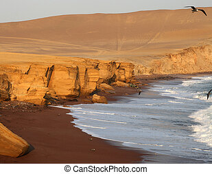 Red Beach Paracas, Peru - The beautiful red beach in the...