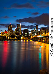 Portland Oregon at Night - Colorful lights reflecting off...