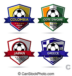 Set of soccer football badgeIllustration eps10