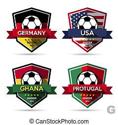 Set of soccer ( football ) badge.Illustration eps10