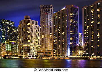 Miami Skyline at Night - Downtown Miami Skyline, Florida,...