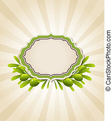 Label and green olive branches