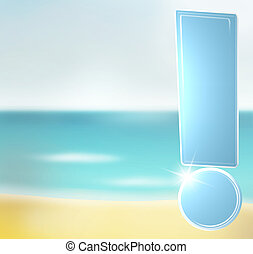 Creative Graphic Illustration Beach with exclamation mark -...