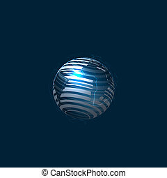 Globe Icon - Vector Globe Illustration Isolated on Dark...