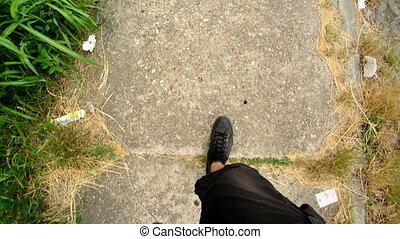 Man walking on the street, eye view camera from above....