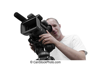 Video camera operator isolated over white