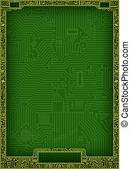 Hi-tech abstract circuit board blank frame - Hi-tech dark...