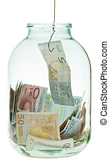 catching saving euro money from glass jar isolated on white...
