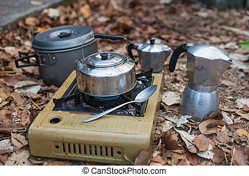 The set of outdoors pot for cooking in forest
