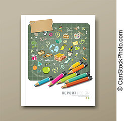 Cover report sketch education icons - Cover report sketch...