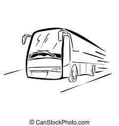 Bus sketch - Vector illustration : Bus- sketch on a white...