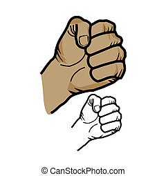 Fist sketch - Vector illustration : Fist sketch on a white...