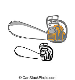 Chain saw 1 - Vector illustration : Chain saw-sketch on a...