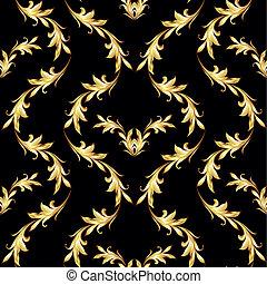 Golden floral pattern on black - Seamless floral pattern...