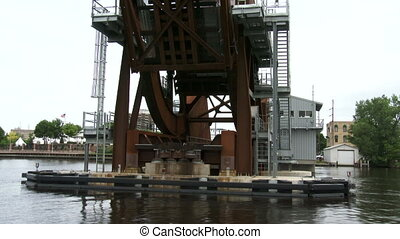 Lift bridge seen from the water - Lift bridge seen from boat...